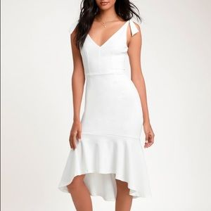 White Trumpet Body Con Dress
